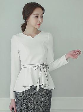 心脏颈部皱褶线女衬衫(安全带)