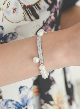 真银棒珍珠镯子