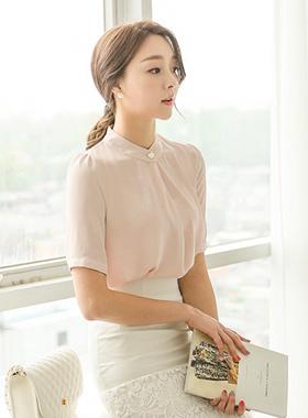 折叠珍珠按钮女衬衫(短袖)