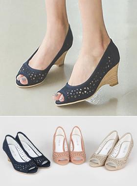 印花透气鞋坡跟鞋凉鞋
