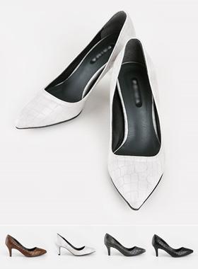 鳄鱼皮浅口式鞋