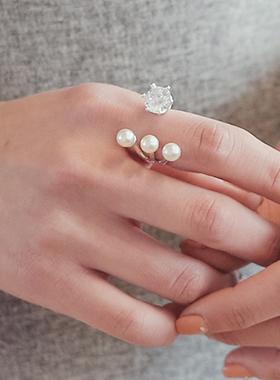 珍珠立方开放戒指