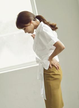 现代蝴蝶结女衬衫