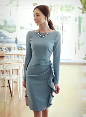 皱褶线修身连衣裙(长袖)