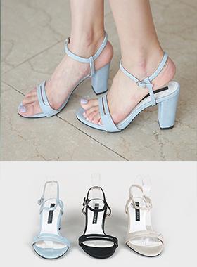 简单的线条皮条/束带凉鞋