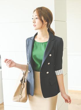 条纹配色亚麻外套(7长袖)