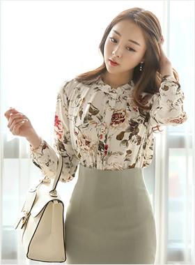 中国颈褶饰花女衬衫