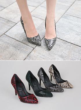 奢华裙蛇皮高跟鞋