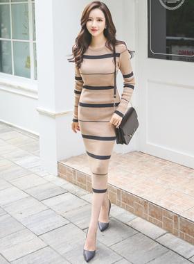 Eoteom线条长款针织连衣裙