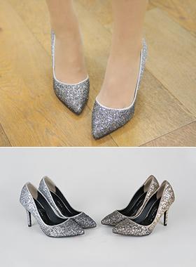 奢华裙金葱细高跟鞋