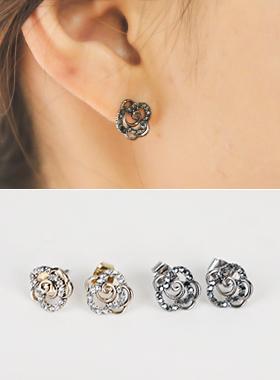 玫瑰立方体耳环