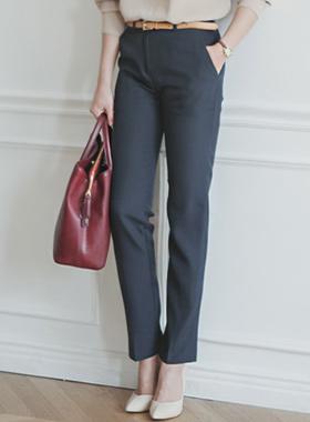 简单修身宽松长裤