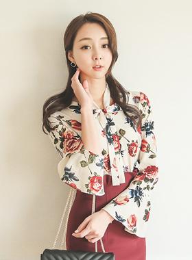 领带丝带袖花女衬衫
