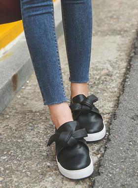蝴蝶结扭松紧帆布鞋