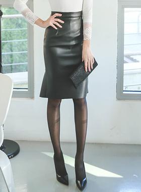 美人鱼皮革裙子