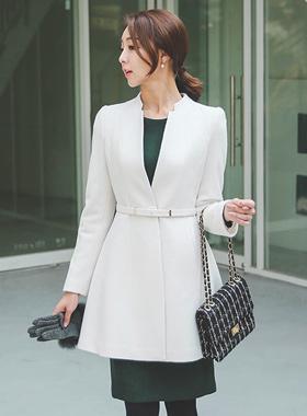 夫人狭缝颈部线条呢子大衣
