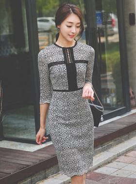 奢华裙小孔蕾丝连衣裙