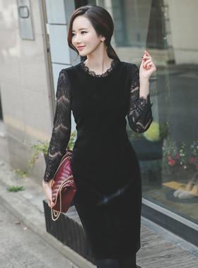 透明蕾丝丝绒连衣裙