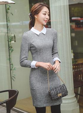 浪漫领针织衫连衣裙