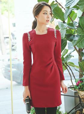 奢华裙水晶褶饰连衣裙