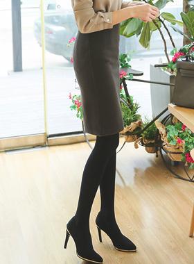 修身加绒高腰裙子