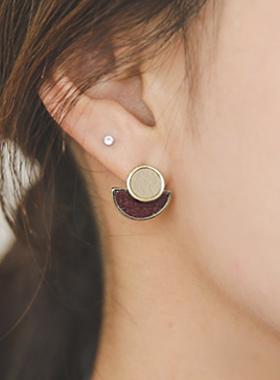 半月圆领皮耳环