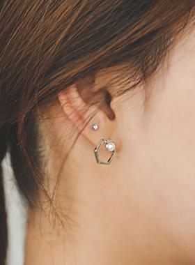 六角珍珠立方耳环