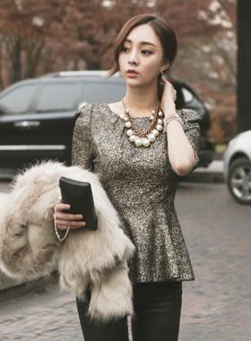 珍珠波浪群/喇叭裙女衬衫