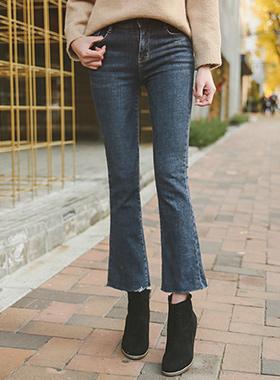 切割靴型裤加绒牛仔色短裤