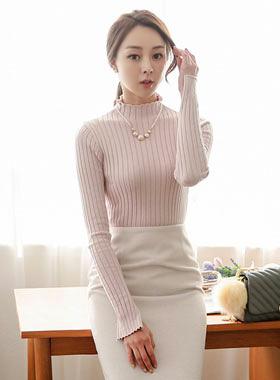 粉彩行皱褶缝袖口针织衫