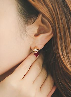 六角迷你珍珠耳环