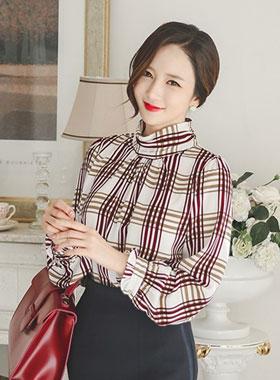 复古/古典格子高龄女衬衫