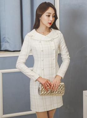 塞拉珍珠扣粗呢连衣裙