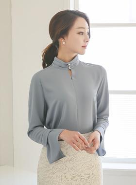 珠颈褶饰缝女衬衫