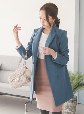 柔丝基本的双呢子大衣