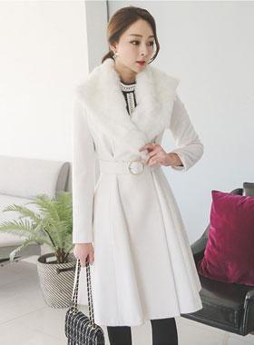 真正的兔毛皮带环波浪群/喇叭裙羊毛大衣