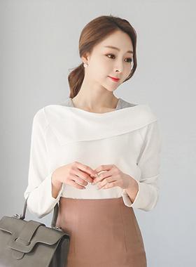针织肩不规则女衬衫