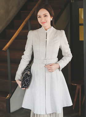 珍珠装饰波浪群/喇叭裙羊毛连衣裙&呢子大衣