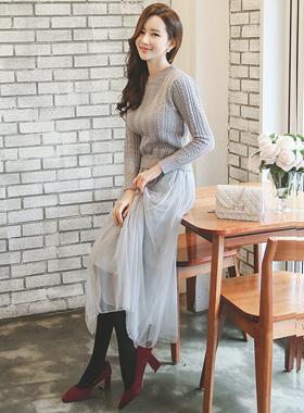 浪漫针织衫和裙子沙阿长款连衣裙