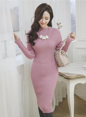 简单插肩半极性针织衫连衣裙