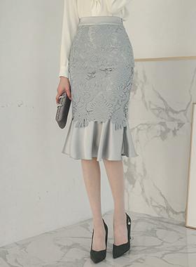 蕾丝与绸缎美人鱼裙子