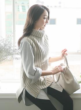 基本的teodeulnek针织衫与长衬衫SET