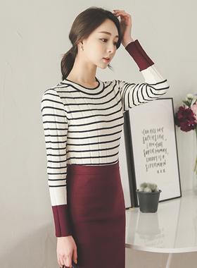 零售彩色条纹针织衫