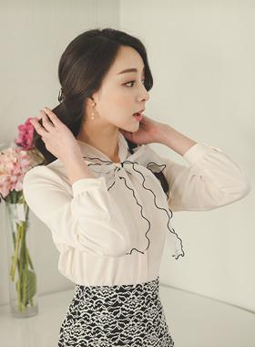 浪漫纱蝴蝶结女衬衫