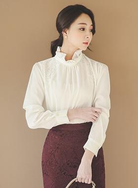 丝毛荷叶边领蕾丝女衬衫