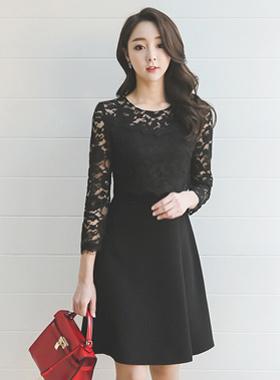蕾丝上衣捏波浪群/喇叭裙连衣裙