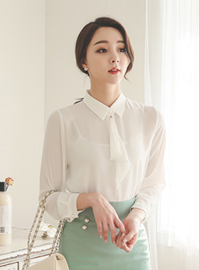 珍珠钮扣荷叶边领带女衬衫