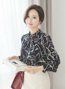 绳印刷rolnek女衬衫(可拆卸色带)