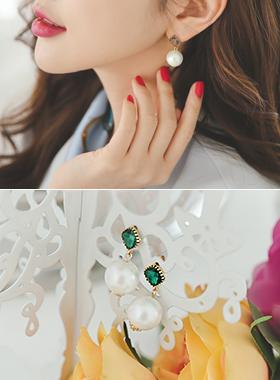 欧菲珍珠橄榄耳环