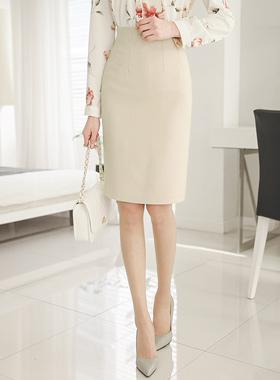 高级斜纹高腰裙子
